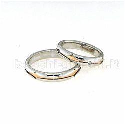 Polello pol2499 fedi oro bianco rosa diamanti
