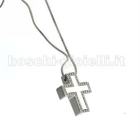 SALVINI saln713 jewelry chain with pendent cross gold diamonds