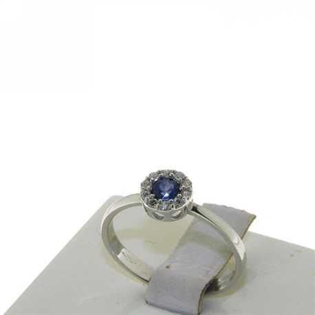 OUR CREATIONS ring diamonds and blue sapphire bosmont-fl-an