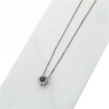 OUR CREATIONS chain with pendent diamonds and blue sapphire gemstones bosmont-fl-cio