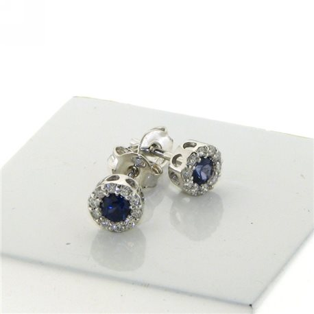 OUR CREATIONS earrings diamonds and blue sapphire gemstones bosmont-fl-or