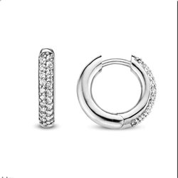 TI SENTO MILANO 7557zi silver jewellery circle earrings with zircons