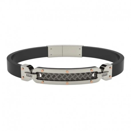 COMETE ubr782 bracelet texture collection stainless steel and rubber