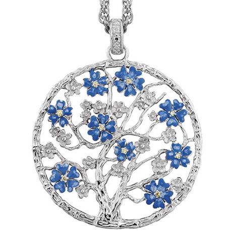 JULIE JULSEN pendent jj9661-6 silver sakura tree of life