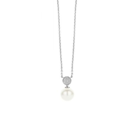 TI SENTO MILANO 3854pw silver chain with pendent pearl zircons