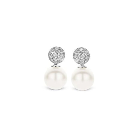 TI SENTO MILANO 7721pw silver earrings with pearls and zircons