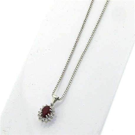 OUR CREATIONS chain with pendent diamonds and ruby gemstones bosmont4754-cio-rb