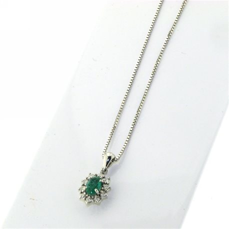 OUR CREATIONS chain with pendent diamonds and emerald flower bosmont4754-cio-sm