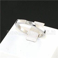 Fedina artigianale oro bianco diamante altezza 2,5mm