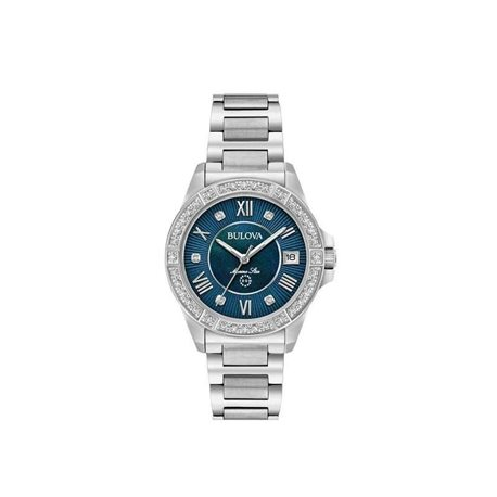 Bulova 96r215 watch woman marine star diamond collection
