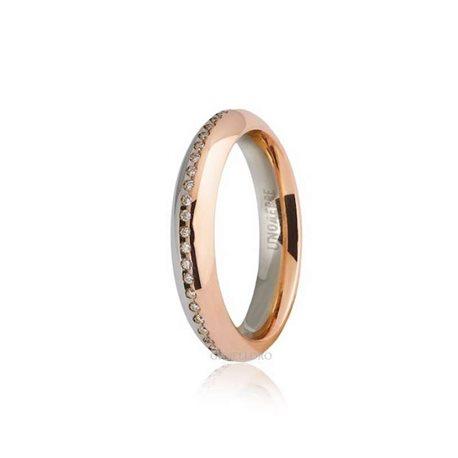 Unoaerre fede eterna 70afc290050 oro bicolore 18k diamanti ct 018