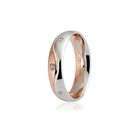Unoaerre wedding ring galassia 50afc9 bicolor gold diamonds ct 008