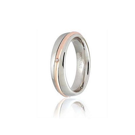 Unoaerre 50afc53001 wedding ring saturno white rose gold diamond ct001