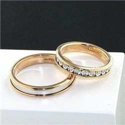 Polello 2596br fedi oro bianco rosa diamanti