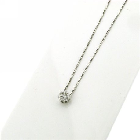 OUR CREATIONS necklace solitaire diamond d-ci-fl-g in gold with diamonds