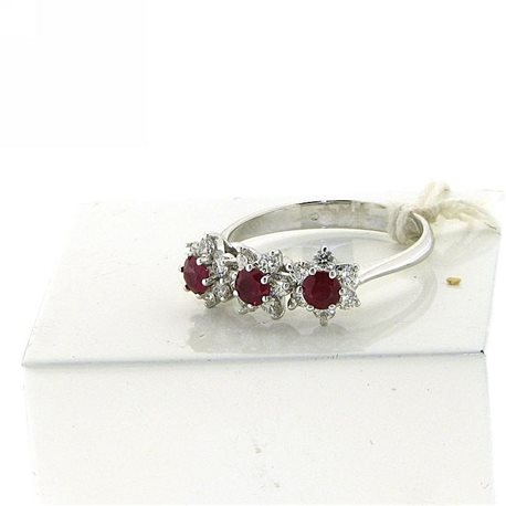 OUR CREATIONS ewelry ring trilogy rubies and diamonds dan4565-rb