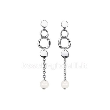 2 JEWELS 261142 steel earrings with pearls