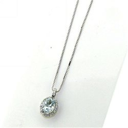 OUR CREATIONS chain with pendent aquamarine diamonds dciacq1585