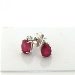 OUR CREATIONS earrings rubies and diamonds collection or4694r02 in white gold