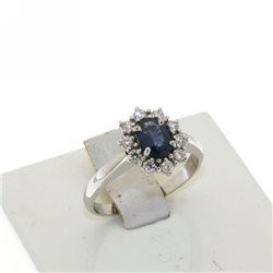 Nostre creazioni anello kate zaffiro blu contorno di diamanti dan4748-2bz