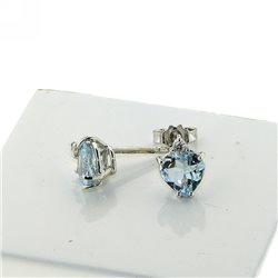 OUR CREATIONS earrings aquamarine heart cut 4966-s1 in gold with diamonds