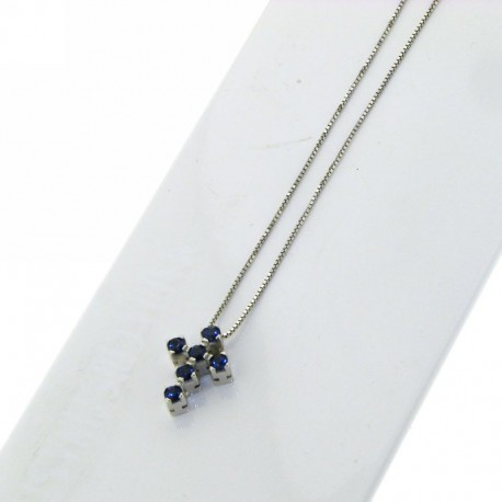OUR CREATIONS chain with pendent cross blue sapphires bosmont-cr-cio