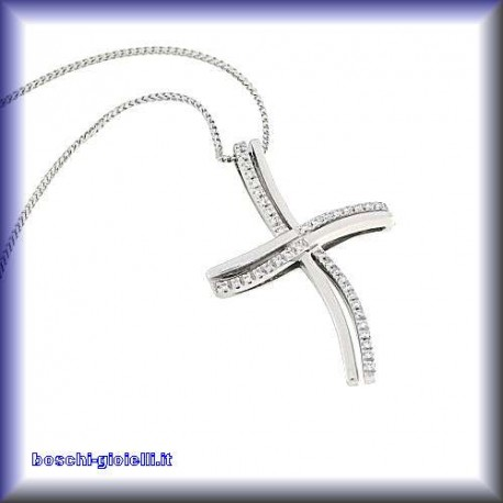 OUR CREATIONS chain with pendent cross collection cl27 gold diamonds