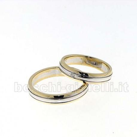 Fedina oro giallo bianco diamante lavorazione artigianale