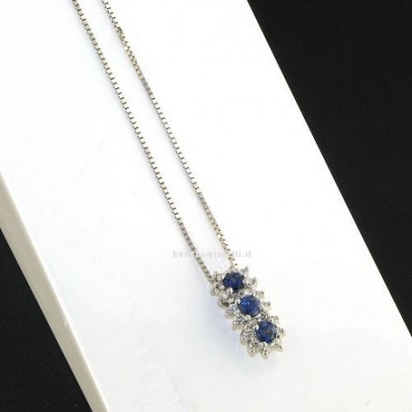 OUR CREATIONS chain with trilogy pendent blue sapphires bosmont4842-cio-zb
