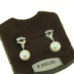 Ambrosia aop021 orecchini pendenti oro perle zirconi