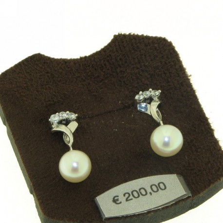 AMBROSIA aop021 gold earrings with pearls and zircons