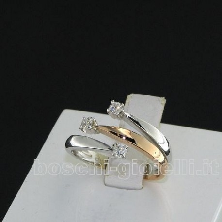 OUR CREATIONS ring trilogy diamonds bosmont4537 white rose gold