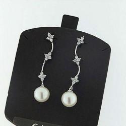 Ambrosia aop015 orecchini oro perle zirconi