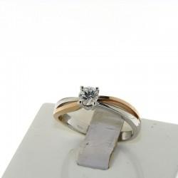 Nostre creazioni anello solitario diamante reggio emilia d-an4399 oro bianco rosa