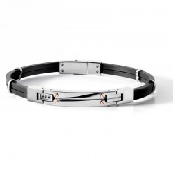 COMETE ubr 538 bracelet delta collection in steel and rubber