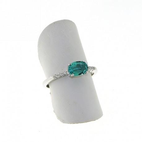 Nostre creazioni anello con smeraldo ovale e diamanti an3664s05