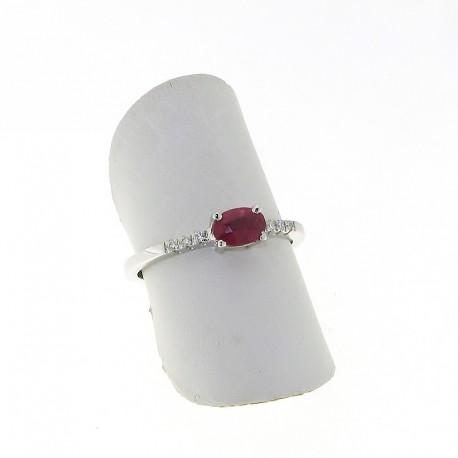 Nostre creazioni anello con rubino ovale e diamanti an03662r05
