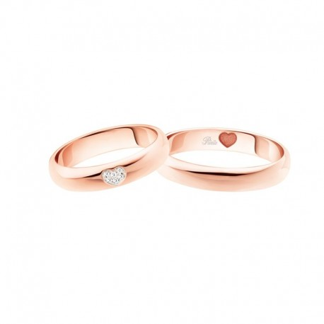 Polello wedding ring heart collection 3117 width 4,2 mm in gold and diamond