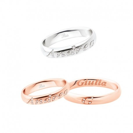 Polello customizable wedding ring letters of love collection 3111 width 3,7 mm in gold and diamonds
