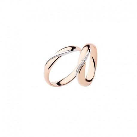 Polello Fedi oro rosa e bianco con diamanti 2892 intrecci d'amore altezza 4,2 mm