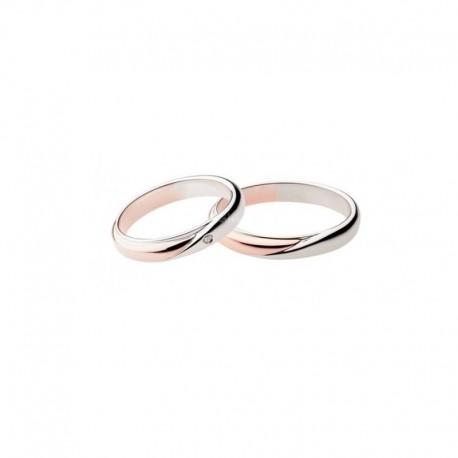 Polello Fedi oro rosa e bianco con diamante 2700 intrecci d'amore altezza 3,7 mm