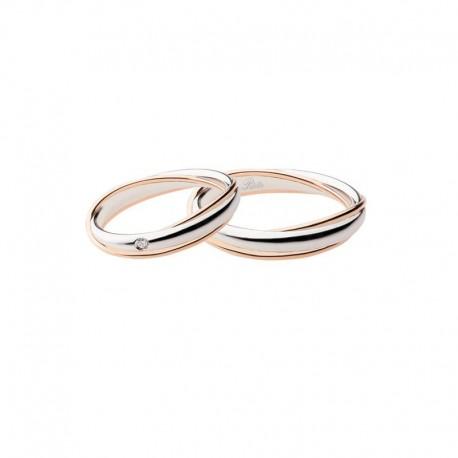 Polello Fedi oro rosa e bianco con diamanti 2692 intrecci d'amore altezza 4,2 mm