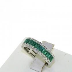 Anello a fascia in oro bianco con diamanti e smeraldi taglio baguette db1684ans