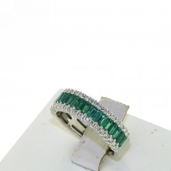 Band ring in gold with diamonds and emeralds baguette cut db1684ans