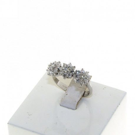 OUR CREATIONS jewelry ring trilogy flowers diamonds DAN4565BR