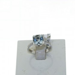 Ring in 18k gold with AQUAMARINE and diamonds OXAN-2086