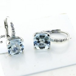 Earrings in 18k gold with AQUAMARINE and diamonds OXOR-1086