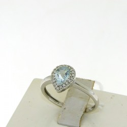 Ring in 18k gold with AQUAMARINE teardrop cut and diamonds 5601A1