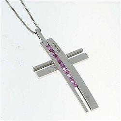 Salvini 71227051 ciondolo croce zaffiri  rosa