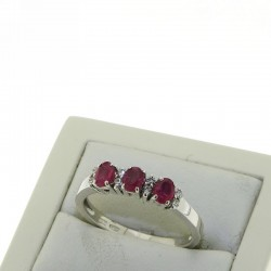 Trilogy Ring with DIAMONDS AND RUBIES OX11R09